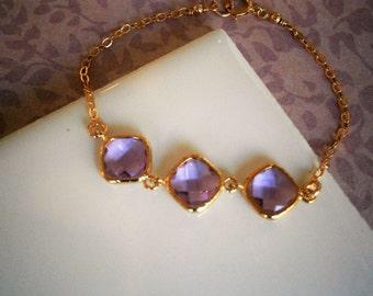 Lavender Diamond Gold Bracelet, Bridesmaid Bracelet, Wedding Jewelry, Best Friend Birthday, Sister, Anniversary Gift