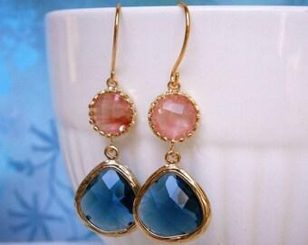 Coral Earrings, Sapphire Earrings, Gold Earrings, Best Friend, Sister, Mother, Daughter, Wife Gift, Spruce