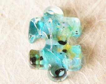 Handmade Dichroic Fused Glass Focal Cab Bead Pendant Necklace ...puzzle piece...