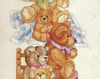 Vintage 1993 Janlynn Counted Cross Stitch Bell Pull Kit, Bears, Teddy Bear Cross Stitch Picture, Assortment of 9 Teddy Bears, Donna Giampa