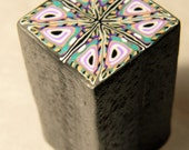 LARGE Raw Polymer Clay Cane - Square Lilac Teal and Black - Handmade - Make Clay Beads and More
