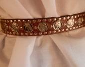 Western belt, leather belt, indian head nickels, studded,