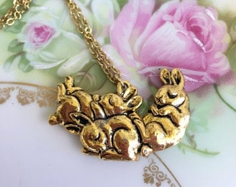 Vintage Brass Three Sleeping Bunny Rabbit Necklace Pendant CUTE