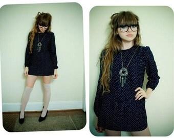 Vintage Mini Tunic Dress / Shirt Top / Secretary Mini Dress / Blouson Tie Ascot Dress / Navy Blue / Secretary Blouse / Medium