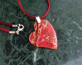 Red Multi-Color Sea Sediment Jasper Heart Pendant Necklace with Sterling Silver Bail & Burgundy Red Satin Cord