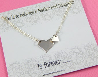 Mother and Daughter interlocking Heart Necklace, Sterling silver, Mothers Necklace, Mothers Day Gift, New Mom Gift