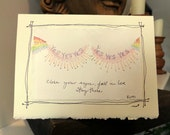 "Rumi ""Close Your Eyes Fall In Love Stay There"" Watercolor Original ""Big Card"" 5x7 With Matching Envelope  betrueoriginals"
