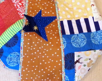 """Baby Quilt Stars and Lions and Peacocks or Wall Hanging Cotton Quilt 42""""Wide x 43"""" Long Boutique Art Patchwork Batik Cottons betrueoriginals"""