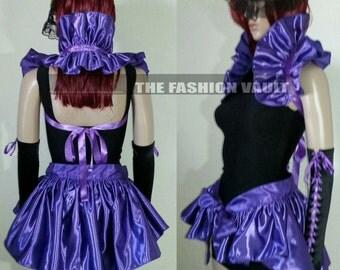 Complete set Purple Rain Maleficent Ringmaster Manga Bustle Burlesque skirt and shoulder collar shrug wrap Cosplay Anime dance costume