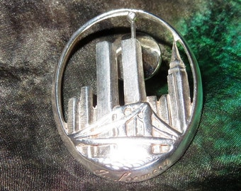 "NYC Twin Towers Skyline Sterling Silver Lapel Pin Brooch 1 3/8"" Inches Tall"