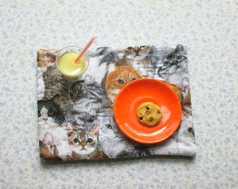 18 inch doll  grey cats hand quilted set of place mats