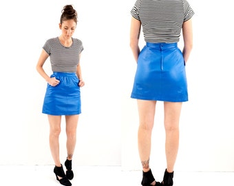 vintage ELECTRIC blue LEATHER micro MINI skirt S
