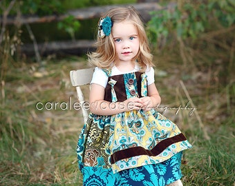 Girls Fall Dress- Cottage Apron Knot Dress- by Melon Monkeys