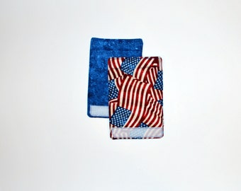 Luggage Handle Wraps set of two reversible Stars and Stripes  travel gift teacher gift Quiltsy Handmade