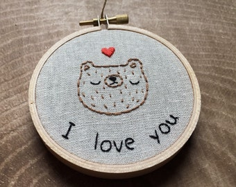 """SALE Embroidered """"I love you"""" valentine's day bear, bear embroidery, hand embroidered bear valentine, bear wall hanging, Valentine's Day"""
