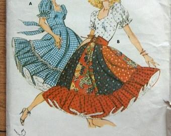 Vintage 1978 sewing pattern Kwik Sew 913  SQUARE DANCE DRESS sz 6-8-10-12