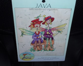 Red Hat Society Fairies  Fabric Transfer and Tote Pattern Java by Trish Stuart      NEW
