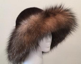 Vintage Fur Hat - Wide Brimmed Fox and Mink - Dramatic Winter Hat - Apres Ski - Mountain - Multi Color Fur Hat - Brain Freeze Preventer