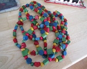 Christmas Wooden Multi Colored Garland 9ft