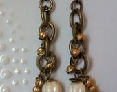 Champagne and Gold dangling and Drop pair of Earrings-gift for friends, wedding party, gift for her, anniversary,Jewelry Collection