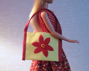 Barbie Handmade Dress - Barbie Doll Red & Yellow Midi Dress with Drop Waist and Large  Matching Tote Bag in Polka Dots and Calico