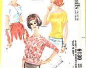 """Early 1960s McCall's 6130 Misses' and Women's Blouse Dart Fitted Back Buttoned """"Easy to Sew"""" Vintage Sewing Pattern Bust 42 inches"""