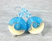 Blue White Wave Earrings, Beach Earrings, Ocean Earrings, Beach Wedding, Bridesmaid Jewelry, Summer Jewelry, Aqua Blue Glass Dangle Earrings