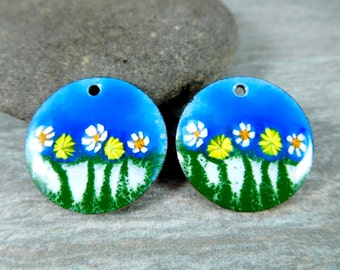 Bright Blue Floral Enameled Copper Earring Charms, Blue Green White Yellow Earring Pair, Torch Fired Enamel, Sgraffito, Summer Earring Drops