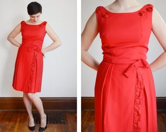 Bright Red 1960s Party Dress - S