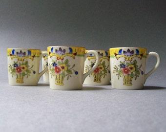 Vintage NORITAKE Handpainted Demitasse Cups ~ Set of 5 ~ Japan ~ Spring Colors