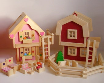 Wooden Doll House and Toy Farm Set, Wood Toy Dollhouse Furniture, Waldorf, Kids gift, Handmade toy,Jacobs Wooden Toys