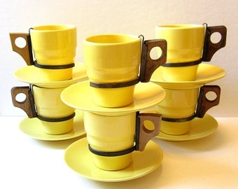 6 Sets Franciscan Ware Yellow Cup & Saucer, Tumblers USA California Pottery