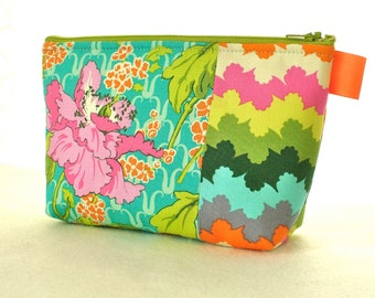 Field Poppy Amy Butler Fabric Large Cosmetic Bag Zipper Pouch Padded Makeup Bag Cotton Zip Pouch Violette Turquoise Pink
