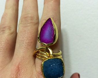 Druzy Ring, Fuchsia and Blue, Gold Plated, Adjustable, One of a Kind