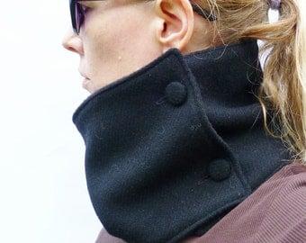 Black Harris Tweed Neckwarmer Scarf