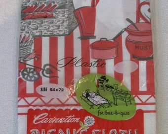 """REDUCED Retro Mid Century 1960's Picnic Barbecue Man at the Grill Scene Unused Plastic Tablecloth 54"""" by 72"""""""