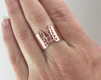 Handmade Ring, Rose Gold Ring,  Wide Band Ring,  Statement Ring,  Corset Ring