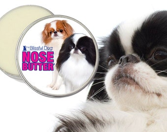 Japanese Chin NOSE BUTTER® Handcrafted Balm for Dry Dog Noses 1 oz, 2 oz or 4 oz Tin Your Choice of Darling Duo, B/W or Sable Chin Label