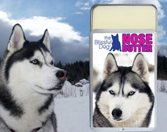 Siberian Husky ORIGINAL NOSE BUTTER® Handcrafted Balm for Dry, Crusty Dog Noses 1.25 oz. slider tin with Husky Label in Gift Bag