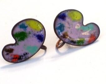 Painter Palette Earrings, Vintage Enamel Copper Earrings, Modernist Abstract Earrings, Artist Earrings, Copper Screwback Earrings