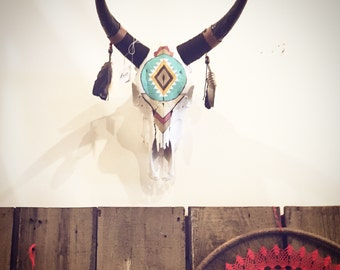 Painted Bull Skull Shamans Eye