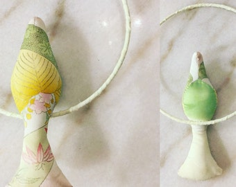 Beautiful swallow mobile made from vintage kimono silk