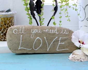 All you Need is Love Driftwood Sign , Beach Wedding Decoration , Coastal Home Decor , Drift Wood Art