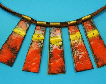 Rare unique one-of-a-kind SWEDISH vintage 1960s adjustable handcrafted modern style abstract motive enamel/ brass 5-part pendant necklace