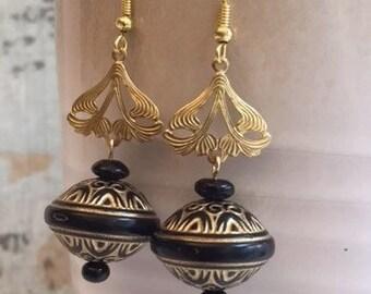 On Sale Gold and Black Unusual Dangle Earrings