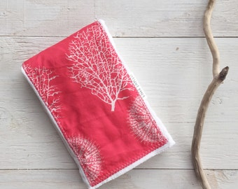 Burp Cloth  for Baby - Coral and Sea Urchins - Single Burp Cloth  - Boutique  Baby Gift / Layette Set - Made in Maui, Hawaii USA