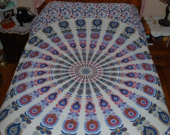 """Hippie East Indian Fabric- Blue Red Peacock - 85"""" by 92""""- Pre-shrunk"""