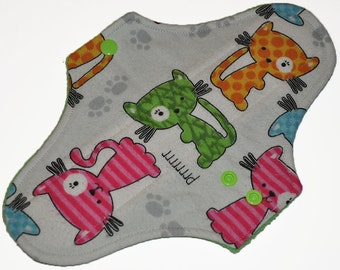 Moderate Core- Cats Flannel Reusable Cloth Maxi Pad- 10 Inches (25.5 cm)