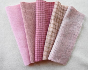 Pink Hand Dyed and Felted Wool Fabric Perfect for Rug Hooking and Applique - Primitive Rug Hooking by Quilting Acres
