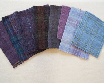 "Assorted Color Purple - Blue  Felted Wool 5"" x 5"" Wool Charm Pack of 8"